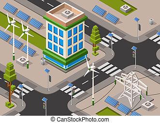 isometric solar wind energy city street