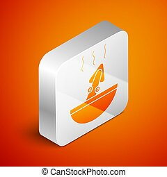 Isometric Soup with octopus icon isolated on orange background. Silver square button. Vector