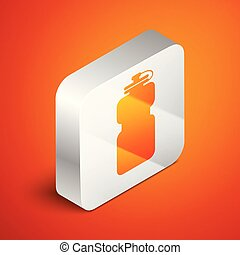 Isometric Sport bottle with water icon isolated on orange background. Silver square button. Vector Illustration