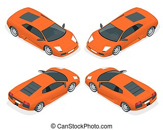 Isometric Sport cars. Set of the car icons in vector.