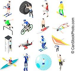 isometric, sport, extrém, ikonok