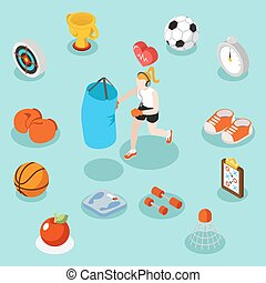 Isometric sport lifestyle and fitness flat 3d vector concept