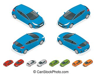Isometric Sportcar or hatchback vehicle. SUV car set on...