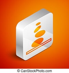 Isometric Stack hot stones icon isolated on orange background. Spa salon accessory. Silver square button. Vector