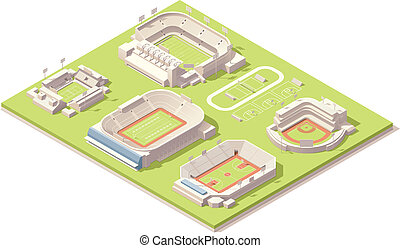 Isometric stadium buildings set - Vector isometric stadium ...