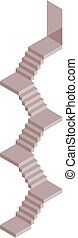 Isometric stairs in grey