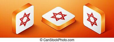 Isometric Star of David icon isolated on orange background. Jewish religion symbol. Orange square button. Vector