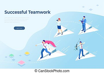Isometric Start up concept. Income and success. Project development. Mobile apps. Successful teamwork page concept. Office workers planing business mechanism