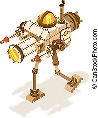 isometric, steampunk, robô, luta, máquina, ou
