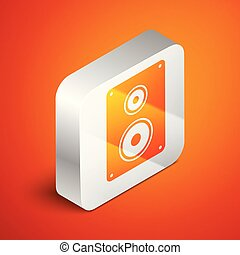 Isometric Stereo speaker icon isolated on orange background. Sound system speakers. Music icon. Musical column speaker bass equipment. Silver square button. Vector Illustration