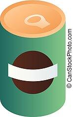 isometric, stijl, boon, groene, groenteblik, pictogram