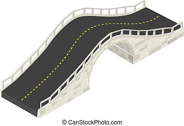 Isometric drawing of a stone bridge against white background