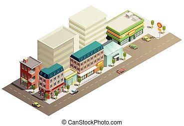 Isometric Store Buildings Concept
