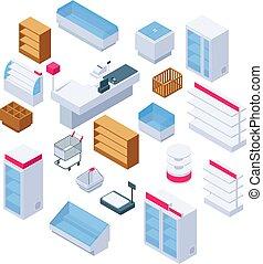 Isometric store furniture. Supermarket shelves, fridges and equipment. 3d shop interior vector elements