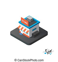 Isometric store icon, building city infographic element, vector illustration