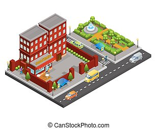 Isometric Street Cafe Concept
