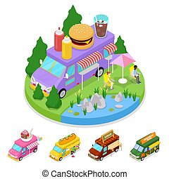 Isometric Street Food Burger Truck with People. Vector flat 3d illustration
