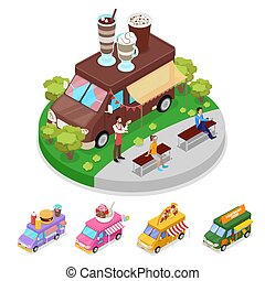 Isometric Street Food Truck Cafe with People. Vector flat 3d illustration