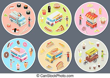 Isometric Street Food Trucks Set.