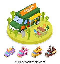 Isometric Street Vegeterian Food Truck with People. Vector flat 3d illustration