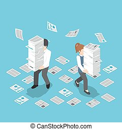Isometric stressful businessman holding stack of paper -...
