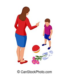 Isometric Strict mother scolds her son for a broken vase while playing football. The boy pleads guilty. Misbehavior and parenting.