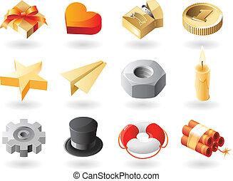 isometric-style, diversen, iconen