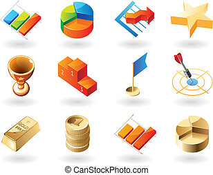 Isometric-style icons for business abstract