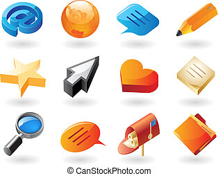 Isometric-style icons for conversation