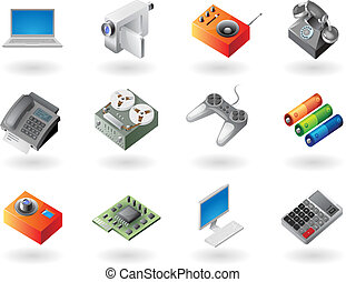 Isometric-style icons for electronics - High detailed...