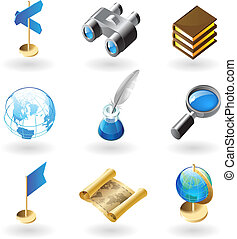 Isometric-style icons for geography - High detailed ...