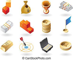 isometric-style, recompensas, ícones