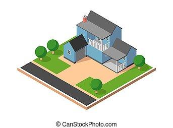 Isometric Suburban House Vector