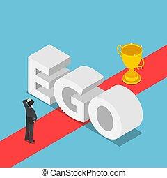 isometric, sucesso, parede, ego, homens negócios, maneira, obstruído, era, achar