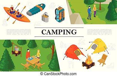 Isometric Summer Outdoor Recreation Concept