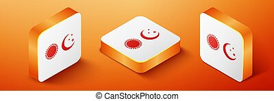 Isometric Sun and moon icon isolated on orange background. Weather daytime and night. Orange square button. Vector