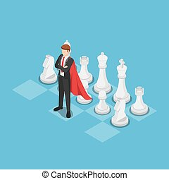 Isometric super businessman as a leader on chess board
