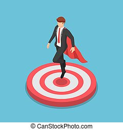 Isometric super businessman landing on the target