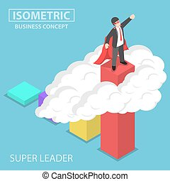 Isometric super businessman standing on the top of the graph
