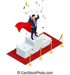 Isometric Superhero businessman or manager concept with characters. Can use for web banner, infographics, hero images. 3d vector illustration isolated on white background