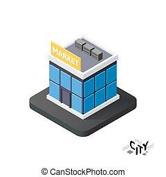 Isometric supermarket icon, building city infographic element, vector illustration