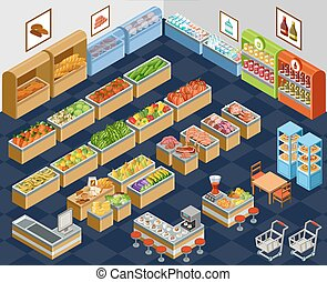 Isometric supermarket - Vector illustration of a...