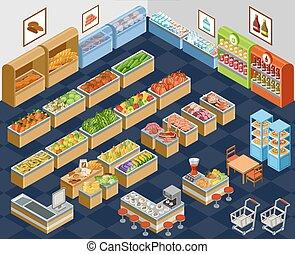 isometric, supermercado
