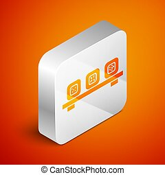 Isometric Sushi on cutting board icon isolated on orange background. Asian food sushi on wooden board. Silver square button. Vector