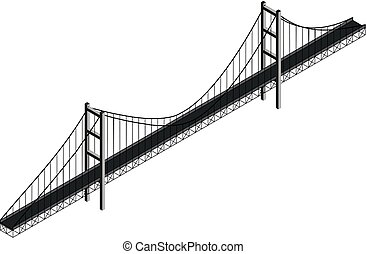 Isometric suspension bridge, vector