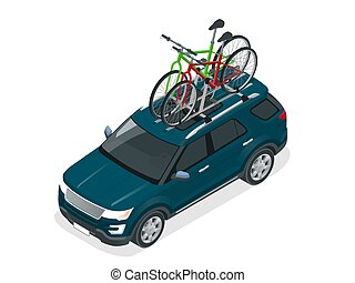 Isometric suv car with two bicycles mounted on the roof rack. Flat style vector illustration isolated on white background.