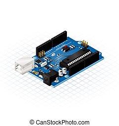 isometric, svobodný, deska, microcontrol