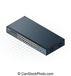 Isometric Switch 24 Ports - This image is a Switch with 24 ...