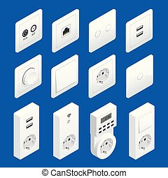 Isometric Switches and Sockets set. AC power sockets...
