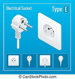 Isometric Switches and sockets set. Type E.